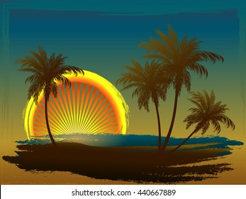 Palm trees in the sun. Styling on a colored background. Sunset.