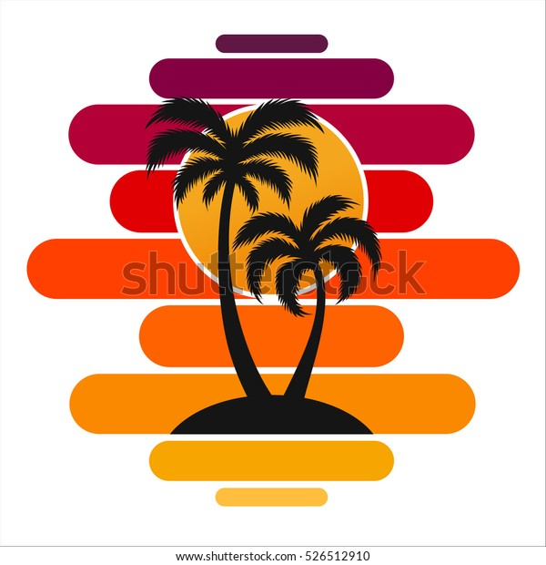 Palm trees sunset vector illustration silhouette on island travel tourism tropical beach wave sea ocean colorful.