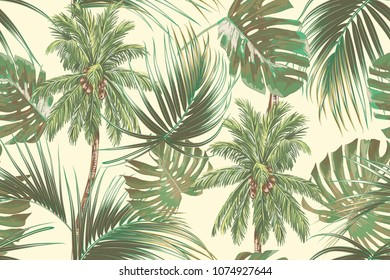 Palm trees, tropical leaves, monstera leaf, summer seamless vector pattern background. Botanical vintage wallpaper palms illustration
