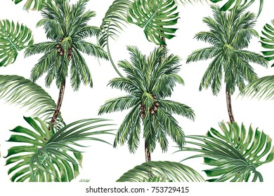 Palm trees, tropical leaves, monstera leaf seamless vector pattern background