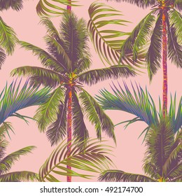 Palm trees, tropical leaves, seamless vector pattern, jungle background