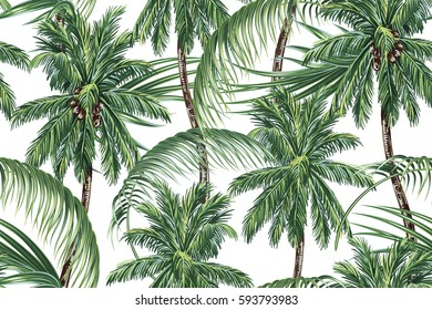 Palm trees, tropical leaves, seamless vector pattern background