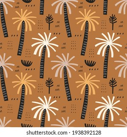 Palm trees vector seamless pattern. Tropical background with hand drawn arecaceae plants. Beach coconut tree wallpaper, african forest textile, wrapping paper print design. Scandinavian illustration