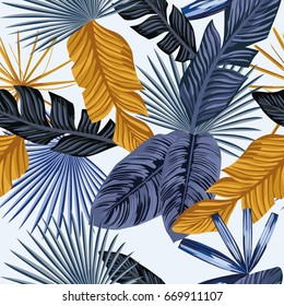 Palm tropic leaves in an abstract blue and gold color. Seamless vector beach wallpaper pattern on white background