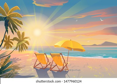 Palm and tropical beach. Chairs on the sandy beach near the sea. Summer holiday, vacation and travel