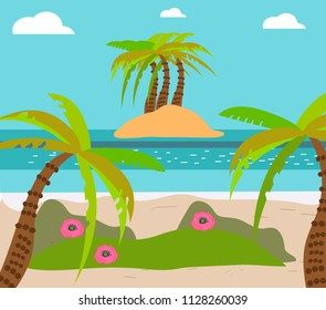 Palm and tropical beach, island, exotic flowers, flat vector lagoon