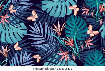 Palm tropical leaves, butterflies and Lily flowers on a seamless exotic background. Summer price tag, big discount, sale, greeting card, cosmetics label, textile background, holidays: Birthday, weddin