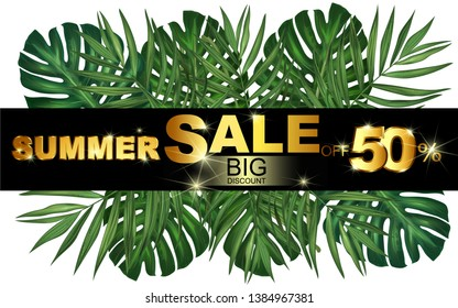Palm tropical leaves on white background. Summer price tag, big discount, sale, greeting card, cosmetics label, background for holidays: Birthday, wedding, party