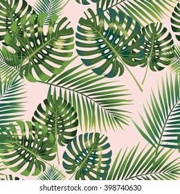 Palm Tropical Blätter nahtlose Muster.  Vektorgrafik.