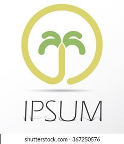Palm tropical tree symbol,  island logo vector