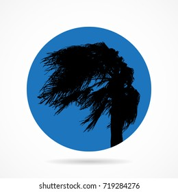 Palm in the wind. Flat icon.