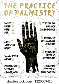 Palmistry, chiromancy - black hand on a white textured background.