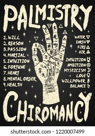 Palmistry, chiromancy. White on a blackboard background. Poster print design, vector illustration.