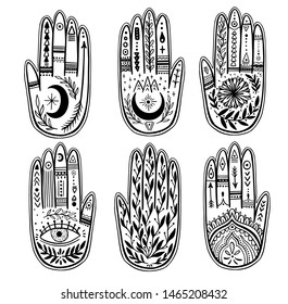 Palmistry of the hand set, black and white drawing in a circle on a white background. Vector illustration