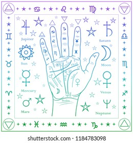 Palmistry of the hand, square color pattern.