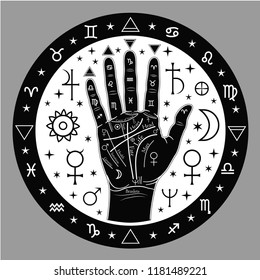 Palmistry of hands, illustration with symbols of astrology.