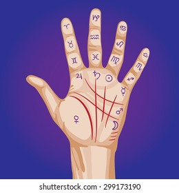 Palmistry map on open palm. vector illustration.