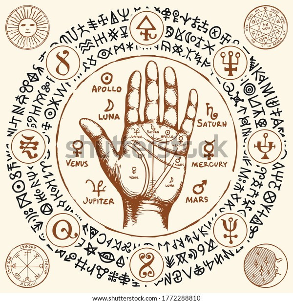 Palmistry map on open palm with signs of the planets. Vector hand-drawn banner with chiromancy hand, esoteric and magic symbols written in a circle in retro style. Divination and prediction of future