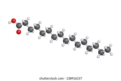 Palmitic acid (palm oil) molecule ball and stick model - C16H32O