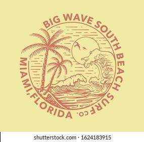 Palms, beach, big waves and sun simple minimal illustration with Big Wave South Beach co. Miami, Florida slogan print design