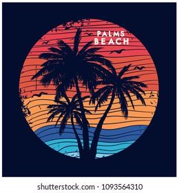 Palms beach palm tree vector print.Sunset illustration.