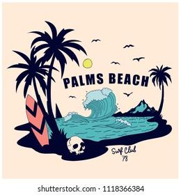 Palms beach vector illustration.Summer t-shirt design.