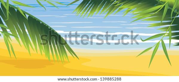 palms-on-coastline-vector-600w-139885288
