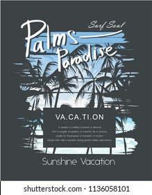 palms paradise slogan with palm silhouette on summer sky