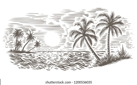 Palms and sea engraving style illustration. Tropical beach. Vector, isolated.