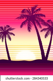 Palms at sunset with stripes .