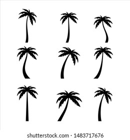 Palms tree icons on white background