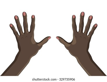 Palms of two black hands from the outside. A wrist.