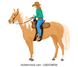 Palomino horse with cowgirl on a white background