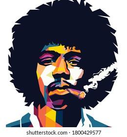 Palu city, indonesia - August 22th 2020 : illustrationJimi Hendrix in wpap style