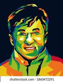 Palu city, indonesia - November 24th 2020 : illustration jackie chan in wpap style