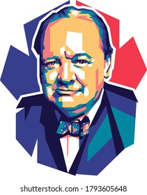 Palu, Indonesia - August 11 2020: Minimal color illustration of World War 2 British prime minister Winston Churchill with simple background