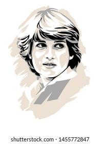 Palu, Indonesia- July 20 2019: Princess Wales, Lady Diana portrait illustration on white background