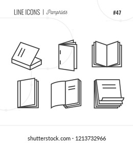Pamphlet icons sings set. Thin line art icons. Flat style illustrations isolated on white. Line icons for design projects.