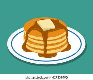 Pan cake in flat style, isolated vector object