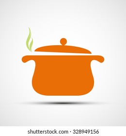 Pan for cooking. Flat design. Stock vector illustration.