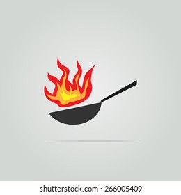 Pan with fire. Wok illustration.
