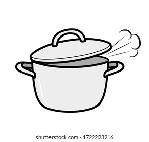 pan flat design. steam comes from the pan. cooking food. vector illustration.