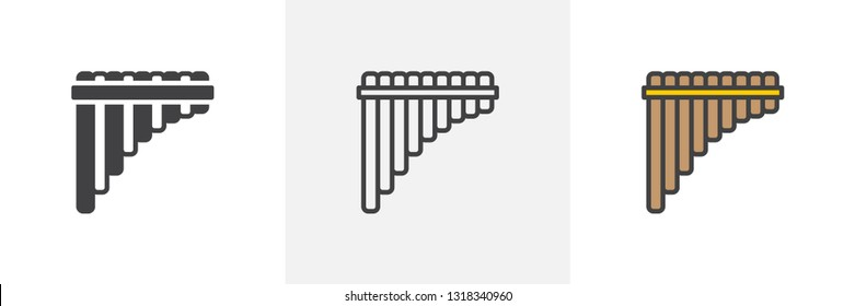 Pan flute icon. Line, glyph and filled outline colorful version, wind musical instrument outline and filled vector sign. Symbol, logo illustration. Different style icons set. Vector graphics