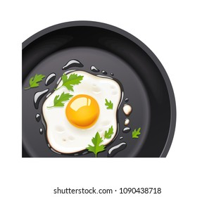 Pan with fried egg. Cooking foods. Scrambled eggs. Top view. Metallic utensil for frying. Roast meal. Cook tools. Fry product. Eggs Omelette. Fast food. Isolated white. EPS10 vector illustration.