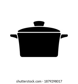 Pan icon. Black silhouette. Side view. Vector flat graphic illustration. The isolated object on a white background. Isolate.