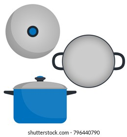 Pan with lid, top view and side view. Kitchen pot. Vector illustration