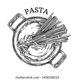 Pan with pasta. Cooking spaghetti. View top. Sketch. Engraving style. Vector illustration.