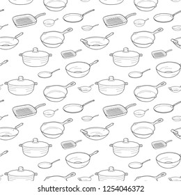 Pan set: Ware Wok, Grill Pan, Crepe Pan, Open Skillet, Saute Pan, Mini Skillet. Vector hand drawn isolated objects. Icons in sketch style. Hand drawn pattern.