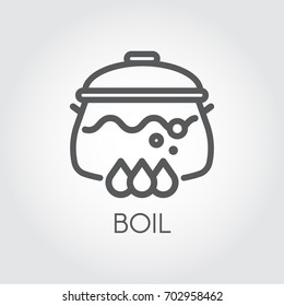 Pan with water, soup or other boiling food on stove. Icon of hot meal in linear design. Graphic contour symbol for different culinary projects. Vector illustration