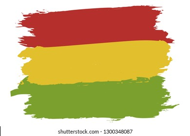 Pan-African colors flag: red, gold (yellow), green. Ancient Ethiopian national symbol. Artistic illustration for Black History Month celebration – flyer, promo poster, card. Rastafarian background.
